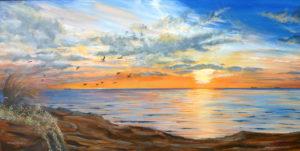 54. Bayside sunset gulls wp©PetePascoe