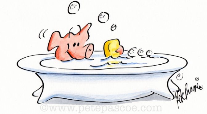 Pink Pig in white footed bath