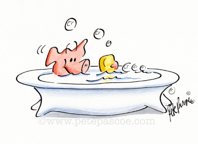 Watercolour/Ink Pig in the Bath ©petepascoe