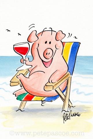 Watercolour/ Ink Pig in a Deckchair ©PetePascoe