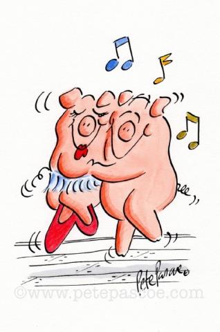 Watercolour / Ink Pigs Dancing ©PetePascoe