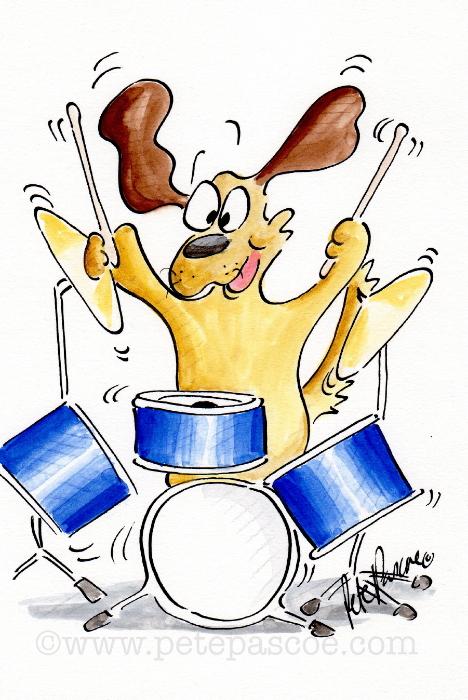 Dog playing blue drum kit