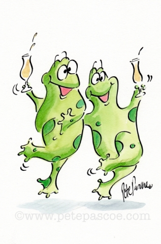 2 Green frogs with Champagne in glasses