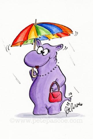 Purple Hippopotamus with multi coloured striped umbrella and pink handbag