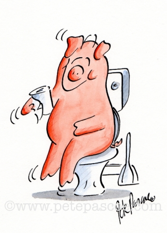 Pink Pig seated on toilet with white toilet roll in right trotter
