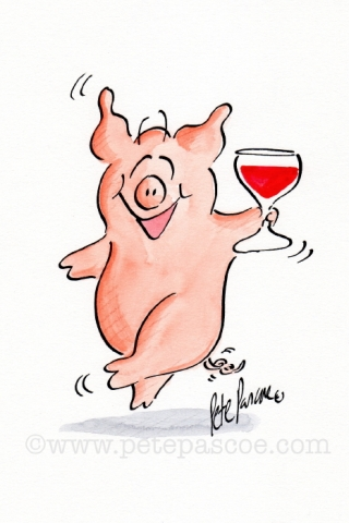 Pink Pig standing with red wine in left trotter