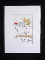 Cockatoo holding Red wine Cartoon in Mat Border