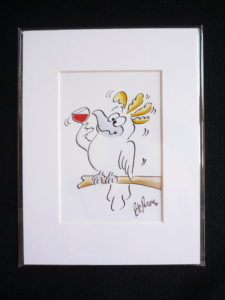 Cockatoo holding Red wine Cartoon in Mat Border